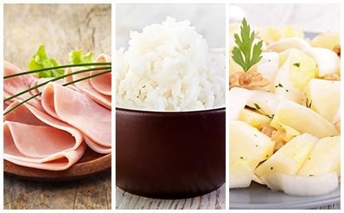 Jambon, riz et salade d'endives