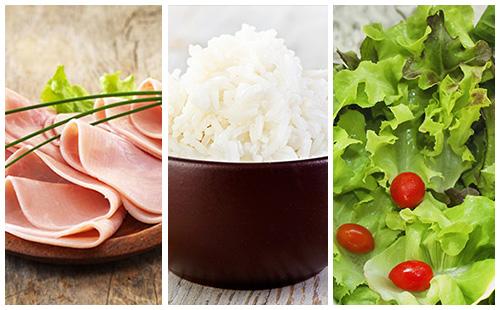 Jambon, riz et salade verte
