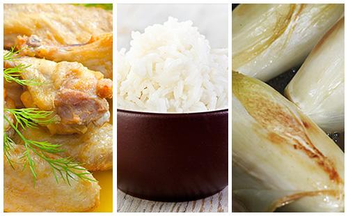 Pilons de poulet, riz et endives braisées
