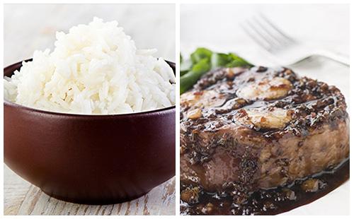 Bifteck aux échalotes et riz