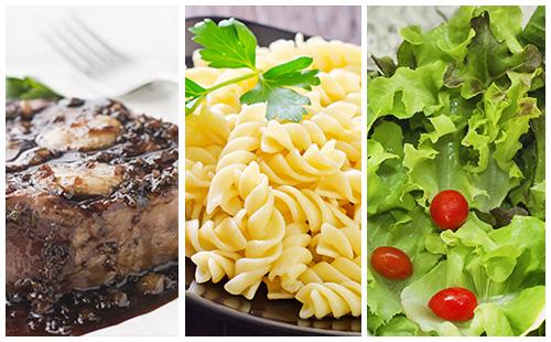Bifteck aux échalotes, pâtes et salade verte