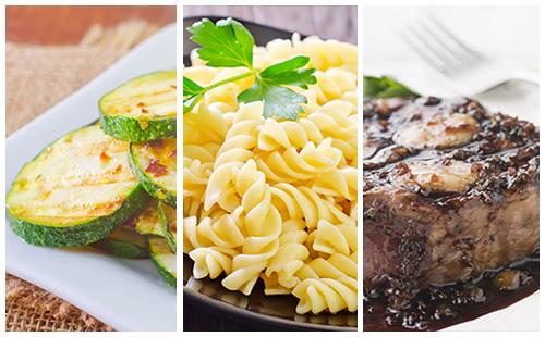 Bifteck, pâtes et courgettes à l'échalote