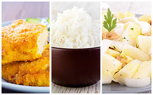 Dinde panée, riz et salade d'endives