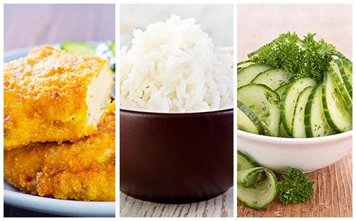 Dinde panée, riz et salade de concombre