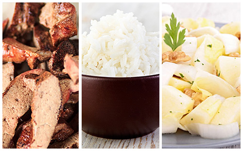 Foie de veau, riz et salade d'endive