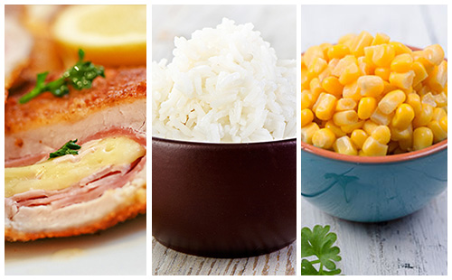 Cordon bleu au maïs et riz