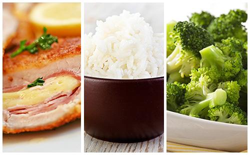 Cordon bleu aux brocolis et riz