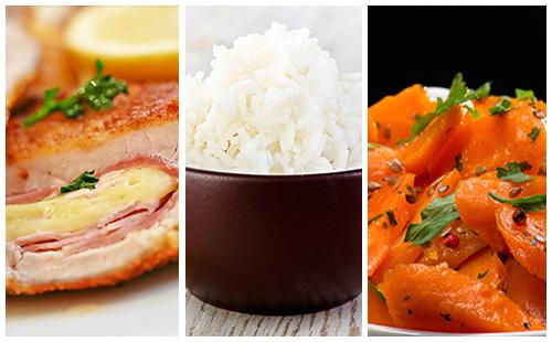 Cordon bleu, riz et carottes