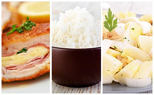Cordon bleu, riz et salade d'endives