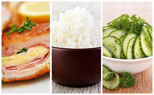 Cordon bleu, riz et salade de concombre