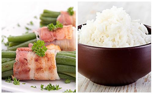 Fagots de haricots verts au bacon et riz