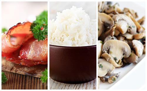 Riz au bacon et champignons poêlés