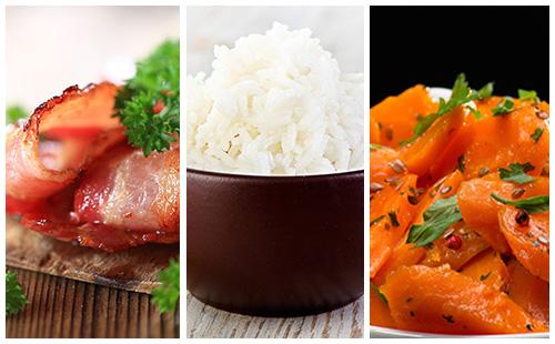 Riz aux carottes et bacon