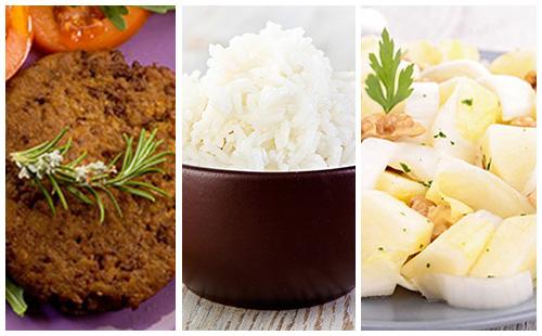 Steak de soja, riz et salade d'endives