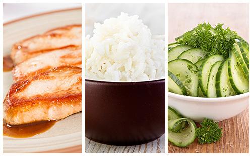 Côte de porc au riz et salade de concombre