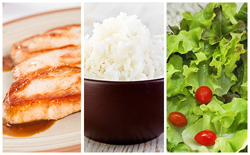 Côte de porc au riz et salade verte