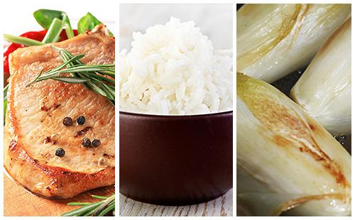Côte de porc au romarin, endives braisées et riz