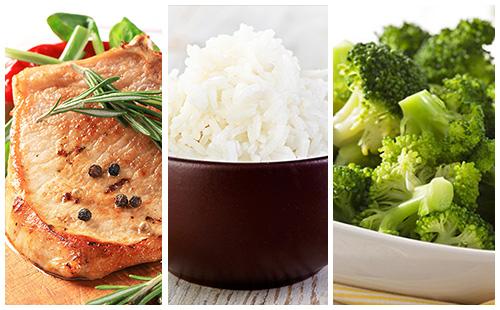 Côte de porc au romarin, riz et brocolis
