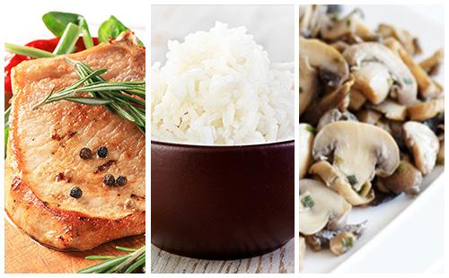 Côte de porc au romarin, riz et champignons poêlés