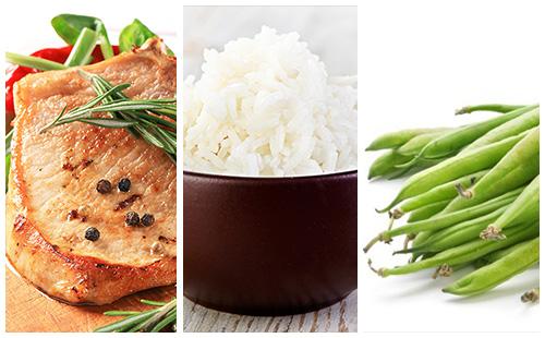 Côte de porc au romarin, riz et haricots verts