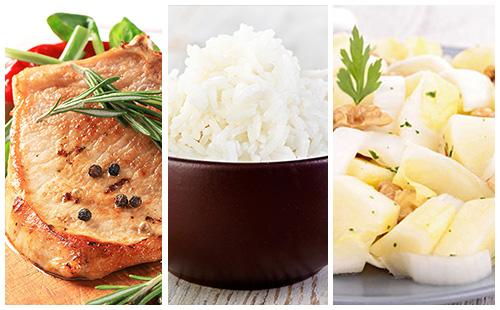 Côte de porc au romarin, riz et salade d'endives