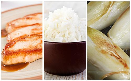 Côte de porc, endives braisées et riz