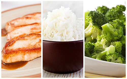 Côte de porc, riz et brocolis