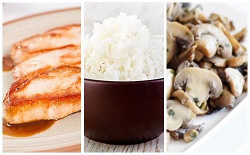 Côte de porc, riz et champignons poêlés