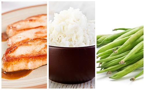 Côte de porc, riz et haricots verts