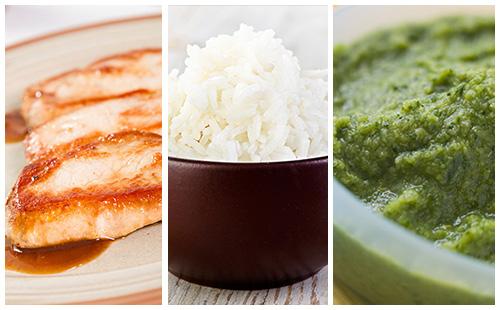 Côte de porc, riz et purée de brocolis
