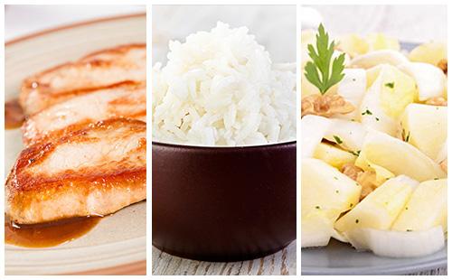 Côte de porc, riz et salade d'endives