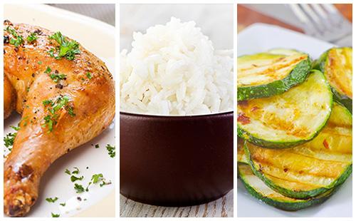 Wecook cuisse de poulet courgettes saut es et riz - Cuisse de poulet calories ...