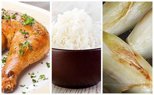 Cuisse de poulet, endives braisées et riz