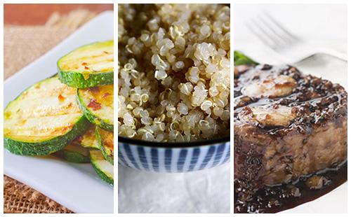 Bifteck à l'échalote et quinoa aux courgettes poêlées
