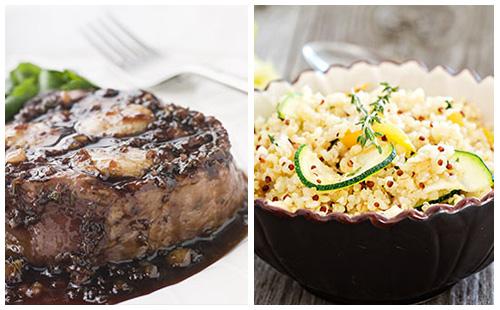 Bifteck à l'échalote, courgettes et quinoa