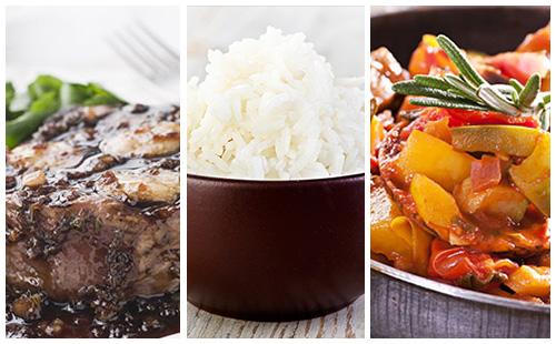 Bifteck à l'échalote, ratatouille et riz