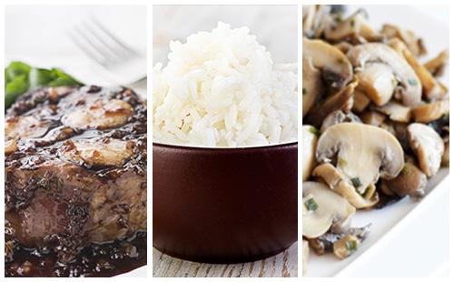 Bifteck aux échalote, riz et champignons poêlés