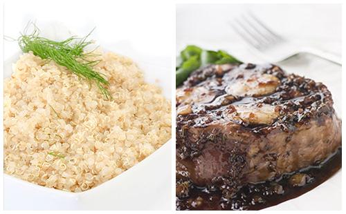 Bifteck aux échalotes et quinoa