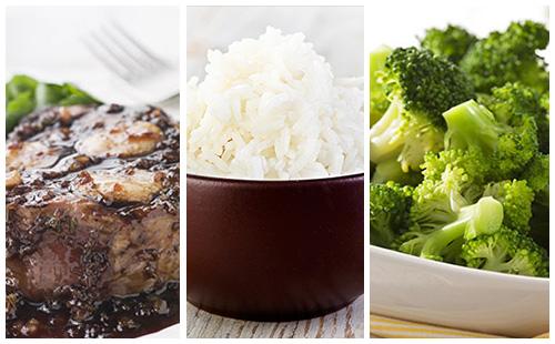 Bifteck aux échalotes, brocolis et riz
