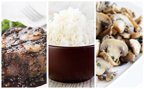 Bifteck aux échalotes, champignons et riz