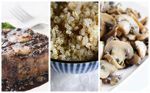 Bifteck aux échalotes, champignons et quinoa