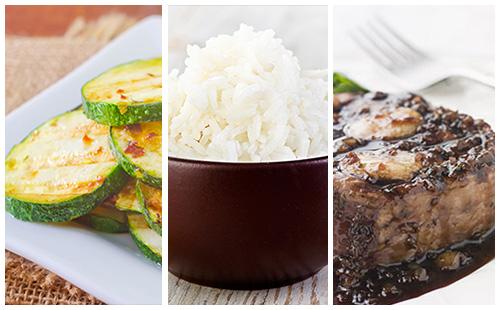 Bifteck aux échalotes, courgettes et riz