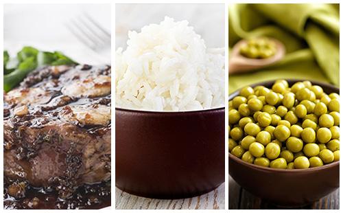 Bifteck aux échalotes, petits pois et riz