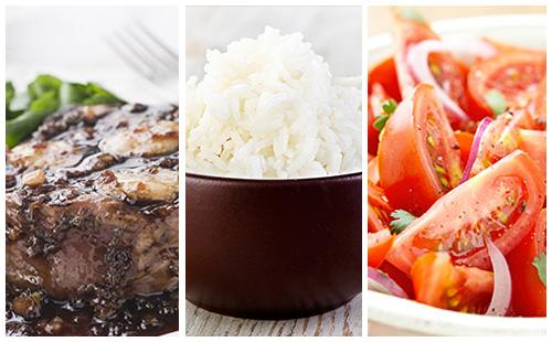 Bifteck aux échalotes, riz et salade de tomates
