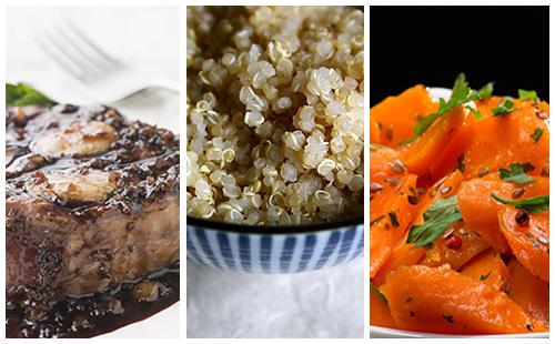 Bifteck sauce échalotes aux carottes et quinoa