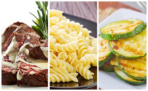 Bifteck, pâtes et courgettes sauce moutarde