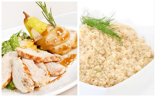 Aiguillettes de poulet aux poires et quinoa