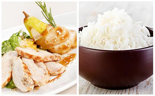 Aiguillettes de poulet aux poires, riz et lardons