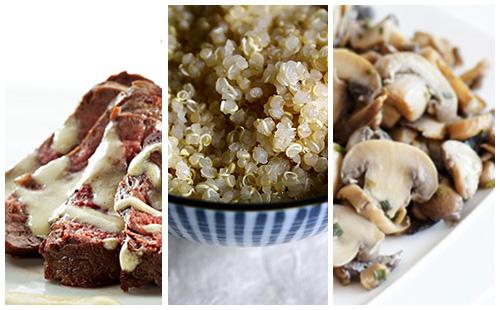 Bifteck à la moutarde et quinoa aux champignons poêlés