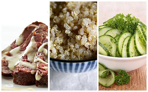 Bifteck à la moutarde, quinoa et salade de concombre